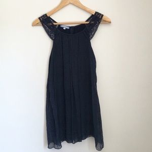 Stella Rosa Navy Silk Crochet Lace Top Size Small